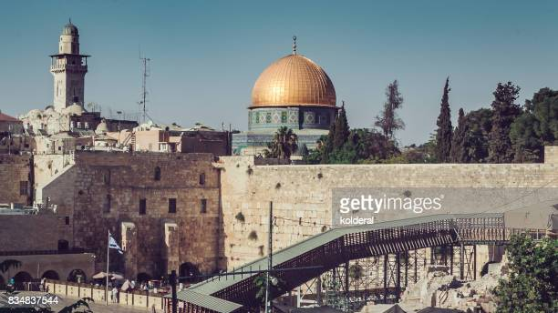 wailing wall, temple mount, dome of the rock, redeemer church and old city in jerusalem - israeli ethnicity stock pictures, royalty-free photos & images