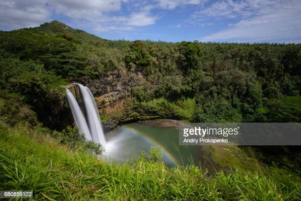 Wailua Falls casting a rainbow, Kauai, Hawaii, USA