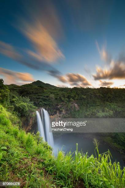 wailua waterfalls on kauai - water fall hawaii stock pictures, royalty-free photos & images