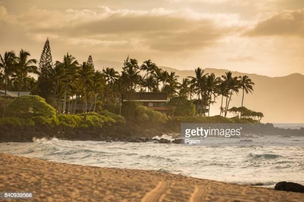 waimea bay beach park oahu hawaii - haleiwa stock photos and pictures