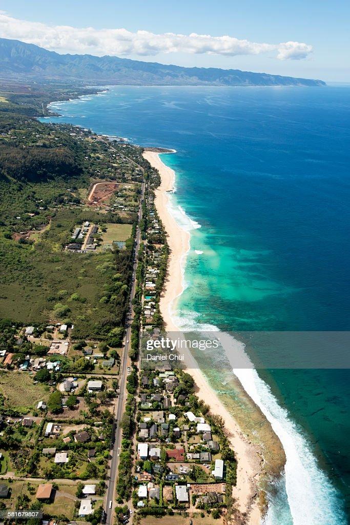 Waimea bay in the North shore : Stock Photo