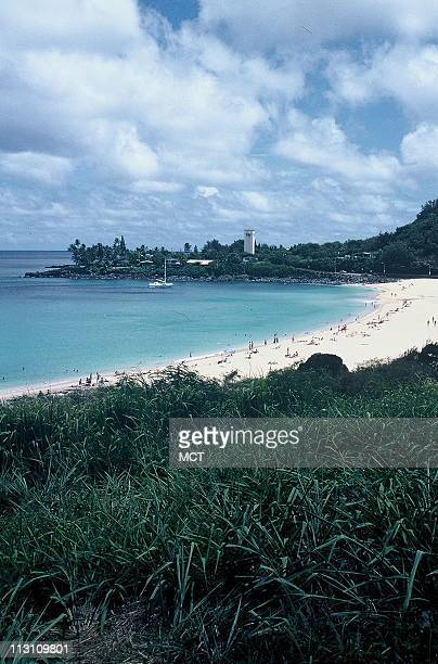 Waimea Bay which features the largest surfable waves in the world during the winter months is as calm as a bathtub in the summer