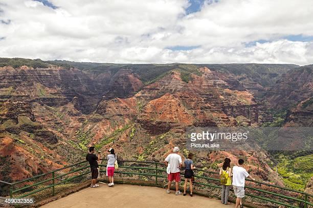 waimea canyon from waimea-canyon overlook - waimea canyon stock pictures, royalty-free photos & images