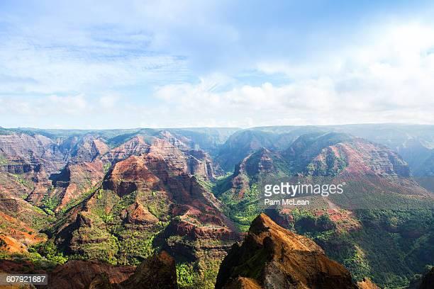 waimea canyon lookout, kauai - waimea canyon stock pictures, royalty-free photos & images