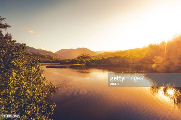 waimea river at sunset on kauai island, hawaii islands