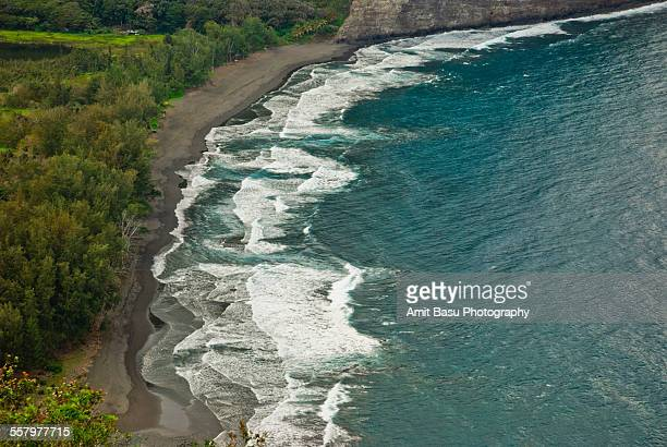 waipio valley black sand beach, hawaii - waipio valley stockfoto's en -beelden