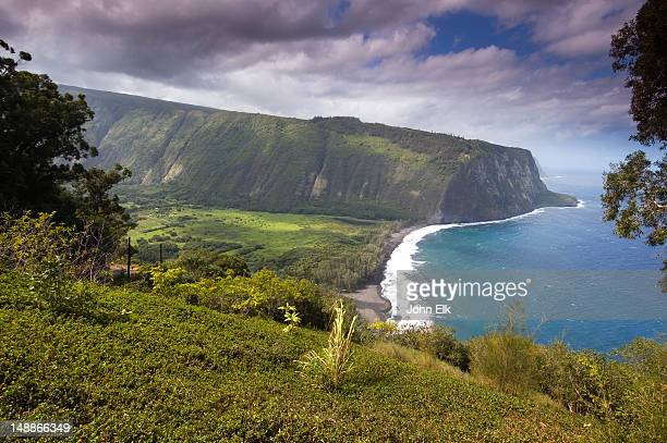 waipio valley from lookout. - waipio valley stockfoto's en -beelden