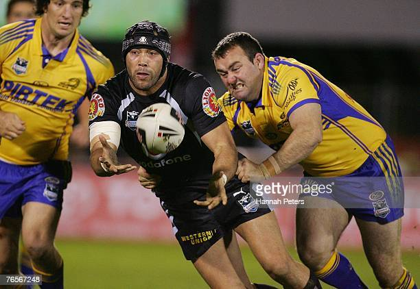 Wairangi Koopu of the Warriors in action during the NRL qualifying final match between the Warriors and the Parramatta Eels at Mount Smart Stadium...