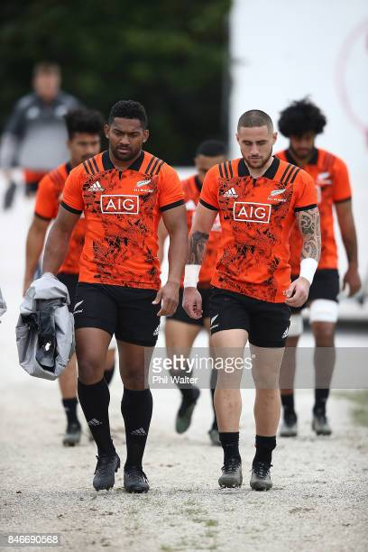 Waisake Naholo and TJ Perenara of the All Blacks arrive for the New Zealand All Blacks training session on September 14 2017 in Auckland New Zealand