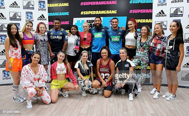 Waisake Naholo Charlie Faumuina and Bryn Hall with the ReQuest Dance Crew during the 2016 New Zealand Super Rugby Launch on February 16 2016 in...