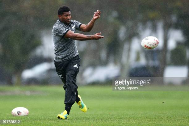 Waisake Naholo in action during a New Zealand All Blacks training session at Hutt Recreation Ground on June 12 2018 in Wellington New Zealand