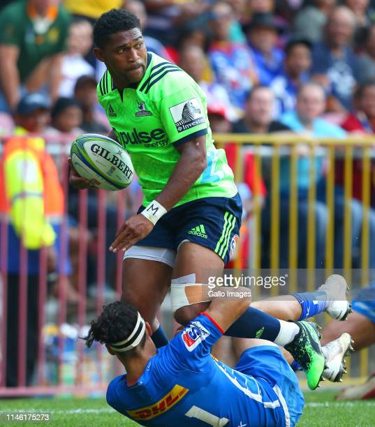 Waisake Naholo of Highlanders is tackled by Dillyn Leyds of the Stormers during the Super Rugby match between DHL Stormers and Highlanders at DHL...