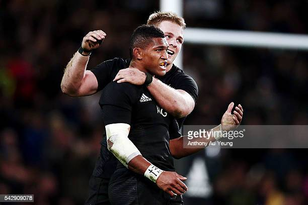 Waisake Naholo of New Zealand celebrates with teammate Sam Cane during the International Test match between the New Zealand All Blacks and Wales at...