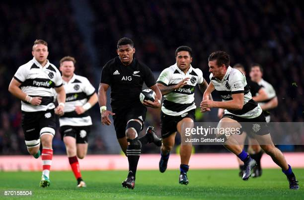 Waisake Naholo of New Zealand in action during the Killik Cup between Barbarians and New Zealand at Twickenham Stadium on November 4 2017 in London...