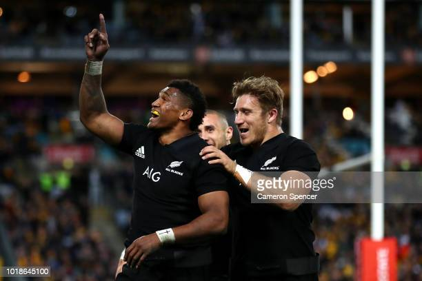 Waisake Naholo of the All Blacks celebrates scoring a try during The Rugby Championship Bledisloe Cup match between the Australian Wallabies and the...