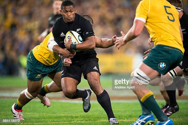 Waisake Naholo of the All Blacks charges forward during The Rugby Championship Bledisloe Cup match between the Australian Wallabies and the New...