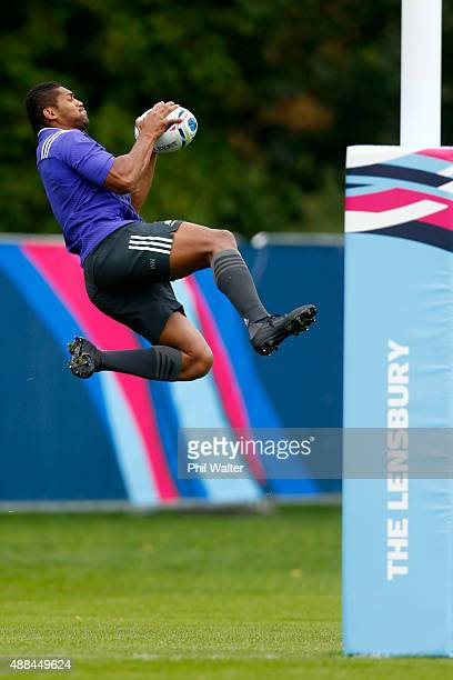 Waisake Naholo of the All Blacks collects a high ball during a New Zealand All Blacks training session at Lensbury on September 16, 2015 in London,...