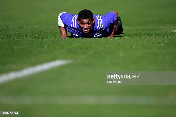 Waisake Naholo of the All Blacks during a New Zealand All Blacks training session at Sophia Gardens on September 27 2015 in Cardiff United Kingdom