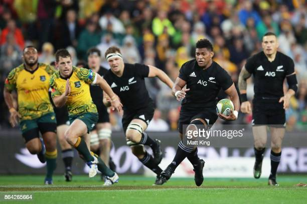 Waisake Naholo of the All Blacks makes a break during the Bledisloe Cup match between the Australian Wallabies and the New Zealand All Blacks at...