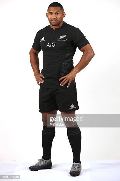 Waisake Naholo of the All Blacks poses for a portrait during a New Zealand All Black portrait session on May 29 2016 in Auckland New Zealand