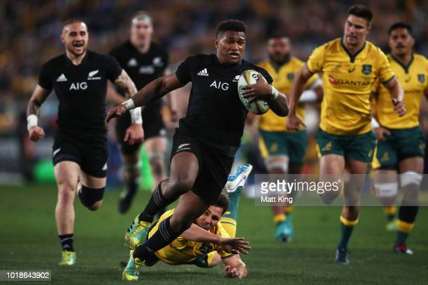 Waisake Naholo of the All Blacks runs away to score a try during The Rugby Championship Bledisloe Cup match between the Australian Wallabies and the...