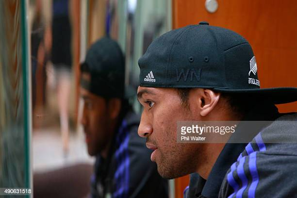 Waisake Naholo of the All Blacks speaks during a New Zealand All Blacks media session at the Hilton Hotel on September 30 2015 in Cardiff United...
