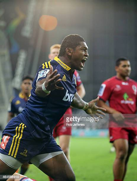 Waisake Naholo of the Highlanders celebrates his try during the round three Super Rugby match between the Highlanders and the Reds at Forsyth Barr...