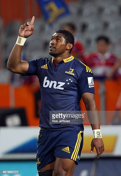 Waisake Naholo of the Highlanders celebrates his try during the round seven Super Rugby match between the Highlanders and the Stormers at Forsyth...