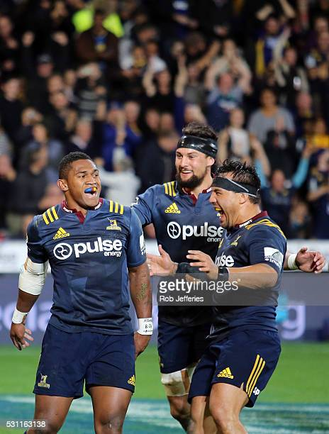 Waisake Naholo of the Highlanders celebrates his try during the round twelve Super Rugby match between the Highlanders and Crusaders at Forsyth Barr...