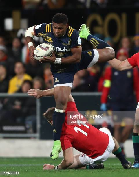 Waisake Naholo of the Highlanders claims a high ball ahead of Tommy Seymour of the Lions during the 2017 British Irish Lions tour match between the...