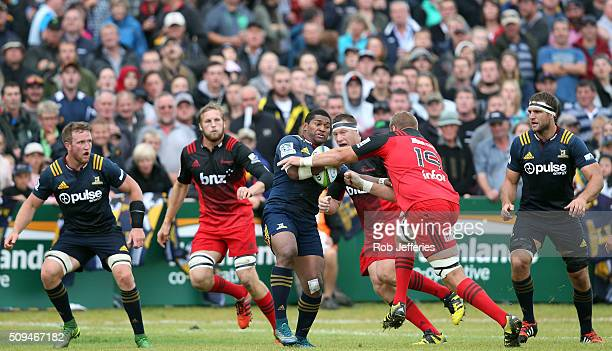 Waisake Naholo of the Highlanders on the charge during the Super Rugby trial match between the Highlanders and the Crusaders at Fred Booth Park on...