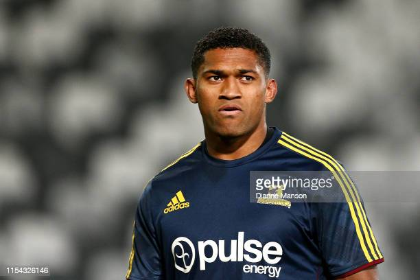 Waisake Naholo of the Highlanders warms up prior to the round 17 Super Rugby match between the Highlanders and the Bulls at Forsyth Barr Stadium on...