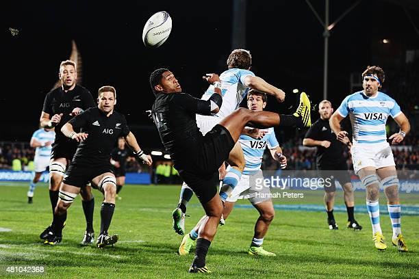 Waisake Naholo of the New Zealand All Blacks loses the high ball during The Rugby Championship match between the New Zealand All Blacks and Argentina...