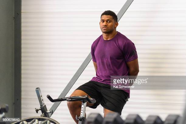 Waisake Naholo works out during a New Zealand All Blacks gym session at the Apollo Projects Centre high performance training facility on March 12...