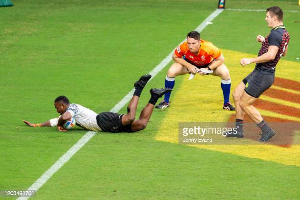 Waisea Nacuqu of Fiji scores a try during the Cup Semi Finals at the 2020 Sydney Sevens match between Fiji and England at Bankwest Stadium on...