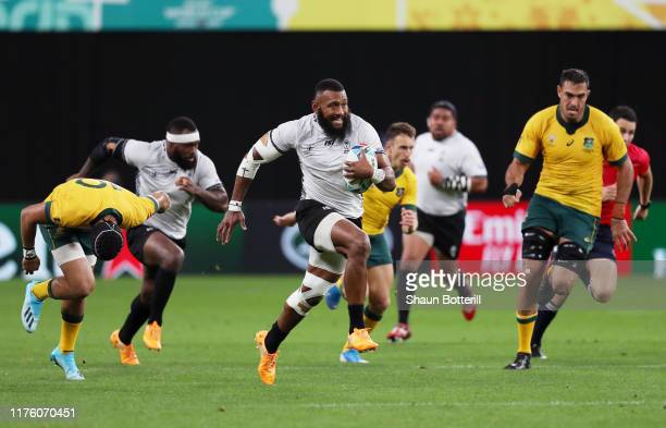 Waisea Nayacalevu of Fiji makes a break to score his side's second try during the Rugby World Cup 2019 Group D game between Australia and Fiji at...