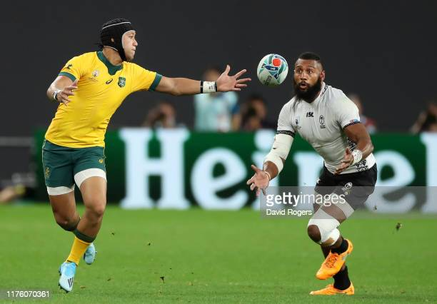 Waisea Nayacalevu of Fiji makes a catch to score his side's second try during the Rugby World Cup 2019 Group D game between Australia and Fiji at...