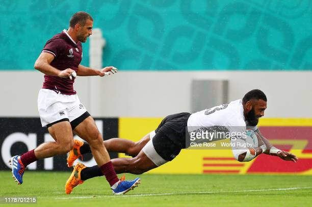 Waisea Nayacalevu of Fiji scores his team's first try during the Rugby World Cup 2019 Group D game between Georgia and Fiji at Hanazono Rugby Stadium...