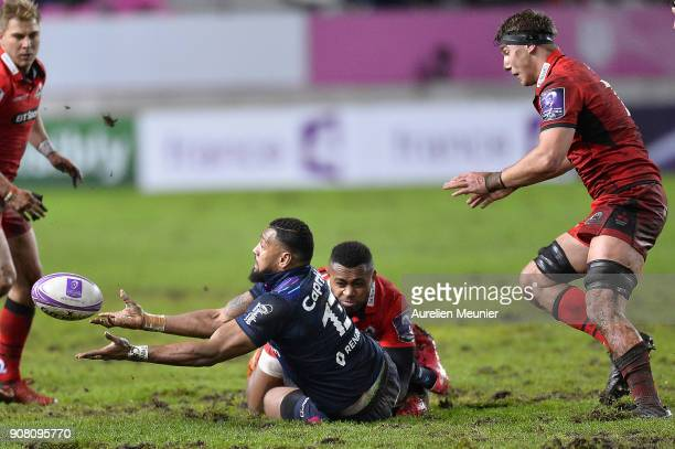 Waisea Nayacalevu of Stade Francais passes the ball during the European Rugby Challenge Cup match between Stade Francais and Edinburgh at Stade...