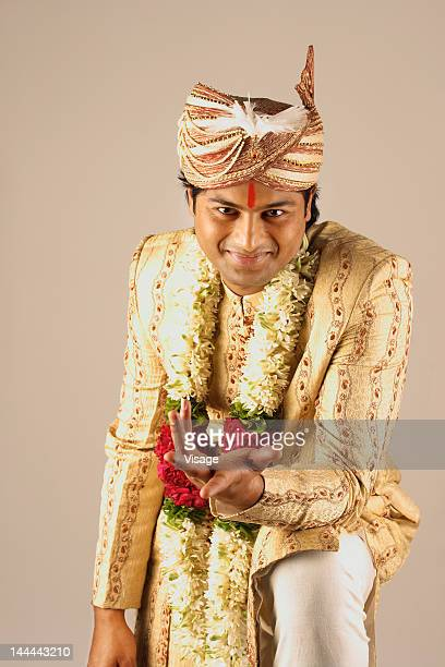 Waist-up of an Indian groom