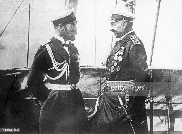 Waistup photograph shows the meeting of Czar Nicholas II and Kaiser Wilhelm II prior to the beginning of World War I Undated