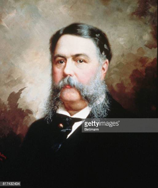 Waistup portrait of Chester Alan Arthur 21st US president who took office after Garfield's assassination Painting by Balling Undated color slide