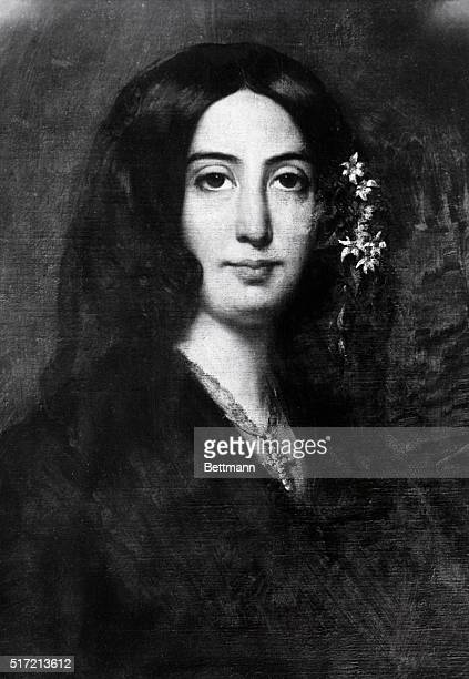 Waistup portrait of French author George Sand in 1838 with flowers in her hair Painting by Charpentier