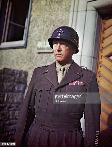 Waist-up portrait of General George S. Patton, Jr. In uniform, 1943. UPI color slide.