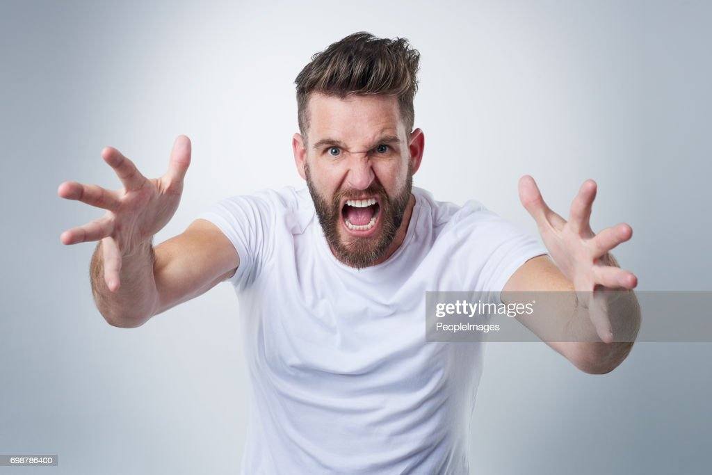 Wait till I get my hands on you! : Stock Photo