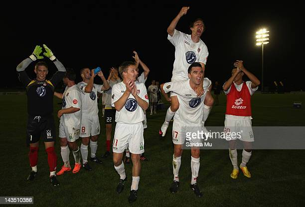 Waitakere celebrate winning the 2012 ASB Premiership Grand Final match between Waitakere United and Team Wellington at The Trusts Stadium on April 28...