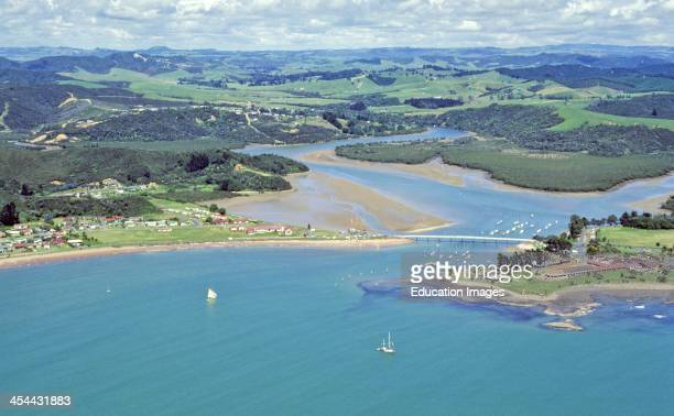 Waitangi river mouth Coastal deposition estuary March Aerial Bay of Islands Northland New Zealand
