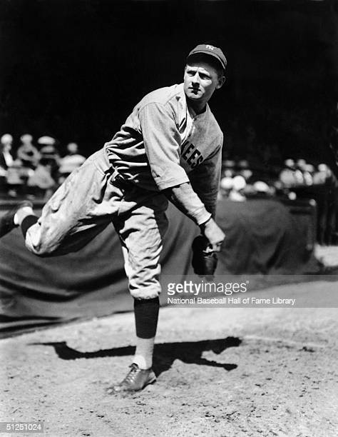 Waite Hoyt of the New York Yankees poses for an action portrait.