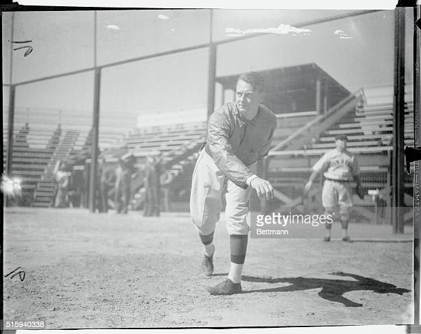 Waite Hoyt, pitcher, pictured during a recent practice session of the Pittsburgh Pirates at their spring training camp at San Bernardino, California.