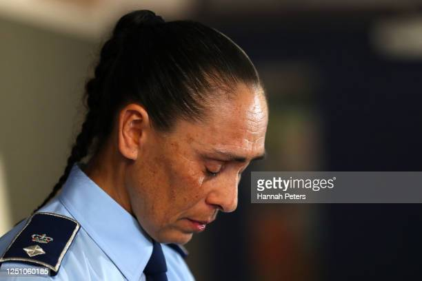 Waitematā District Commander Superintendent Naila Hassan cries as she speaks to the media during a press conference at Henderson Police Station on...